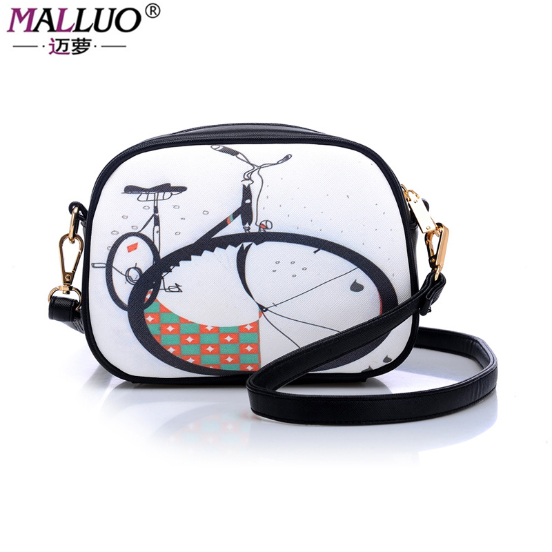 MALLUO Brand Women Shoulder Bags 2017 New Arrive Women Bags High Quality PU Leather Lady Flap Sevev Style Cartoon Printing Tote<br>
