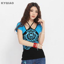 KYQIAO Ethnic t-shirt 2017 women Mexican style vintage designer o neck short sleeve blue red embroidery tribe t shirt tee top