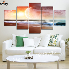 Abstract Canvas Painting Sea Wave painting Wall Framed Decoration Fashion Picture Art No F1723(China)