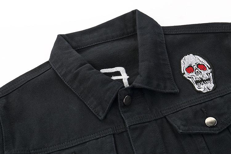 Embroidery Rose Skull Denim Jackets 2