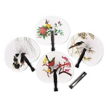Practical 2PCS Paper Folding Chinese Oriental Floral Hand Fans Wedding Favours Table outstanding quality