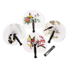 Practical 2PCS Paper Folding Chinese Oriental Floral Hand Fans Wedding Favours Table outstanding quality(China)