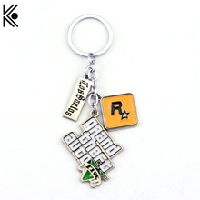 GTA5 Game Grand Theft Auto V Keychain can Drop-shipping Metal Key Rings For Gift Chaveiro Key chain Jewelry for cars(China)