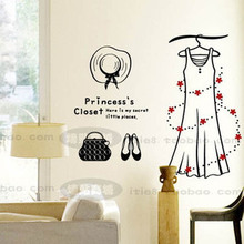 2015 New Design Shop Vinyl Wall Decal Fashion Dress Hat Bag Shoe Mural Art Wall Sticker Store Window Glass Home Decoration