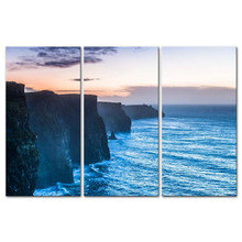 Hot Sale Top Fashion Modern 3 Pieces Painting Beautiful Cliffs Of Moher At Sunset Clare Ireland Coast Print On Giclee Artwork(China)