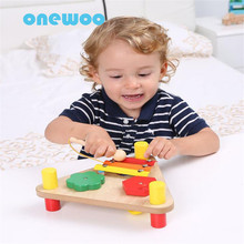 Multifunctional Triangular Music Table Wooden Knocked Piano Toys Children Puzzle Early Education Music Instruments Sound Toys(China)