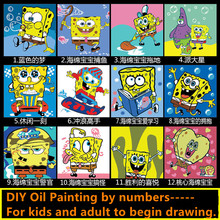 Children DIY Oil Painting By Numbers Handpainted Wall Art Paintings Cartoon Spongebob Framed Pictures Digital Canvas For Kids(China)