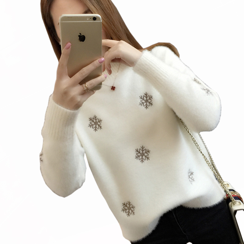 2018 new fashion women's plush thick sweater high collar women loose wild printed pullover women's sweater LU528