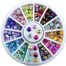 Hot sell  3D Nail Art Tips Tool Crystal Nail Glitter Rhinestone  DIY Nail Decoration Wheel DIY