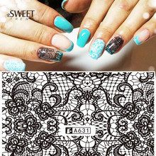1 Sheets Lace Flower Pattern Nail Art Stickers Black Lace Full Wraps Water Transfer Nail Decals Fashion Manicure Tools LAA631