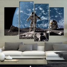 4 Pcs/Set Large Abstract Astronaut Looking at Alien Planet Canvas Print Painting Modern Galaxy Wall Art Picture Home Decor