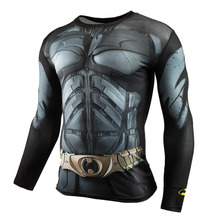 Men Crossfit Long Sleeve Compression Shirt 3D Anime Superhero Superman Captain America T Shirt Tights Fitness Men Tops & Tees(China)