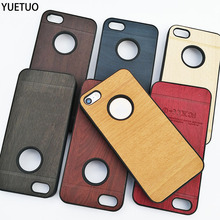 YueTuo original luxury hard coque case for apple iphone4 for iphone 4 s 4s brand phone cover shell wood gold back wooden cases(China)