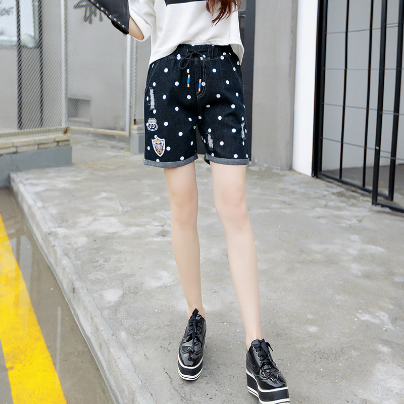 Plus Size Vintage Denim Hole Shorts Jeans for Women Dot Ripped Pants Boyfriend Cotton Elastic Waist Korean Summer femme 33018Одежда и ак�е��уары<br><br><br>Aliexpress