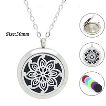 With chain as gift! wholesale 25mm 30mm magnetic silver 316L stainless steel essential oils perfume diffuser locket necklace(China)