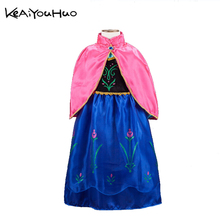KEAIYOUHUO 2017 New Spring and autumn girl printing princess Anna and Elsa shawl vest dress cute girl clothing long dress