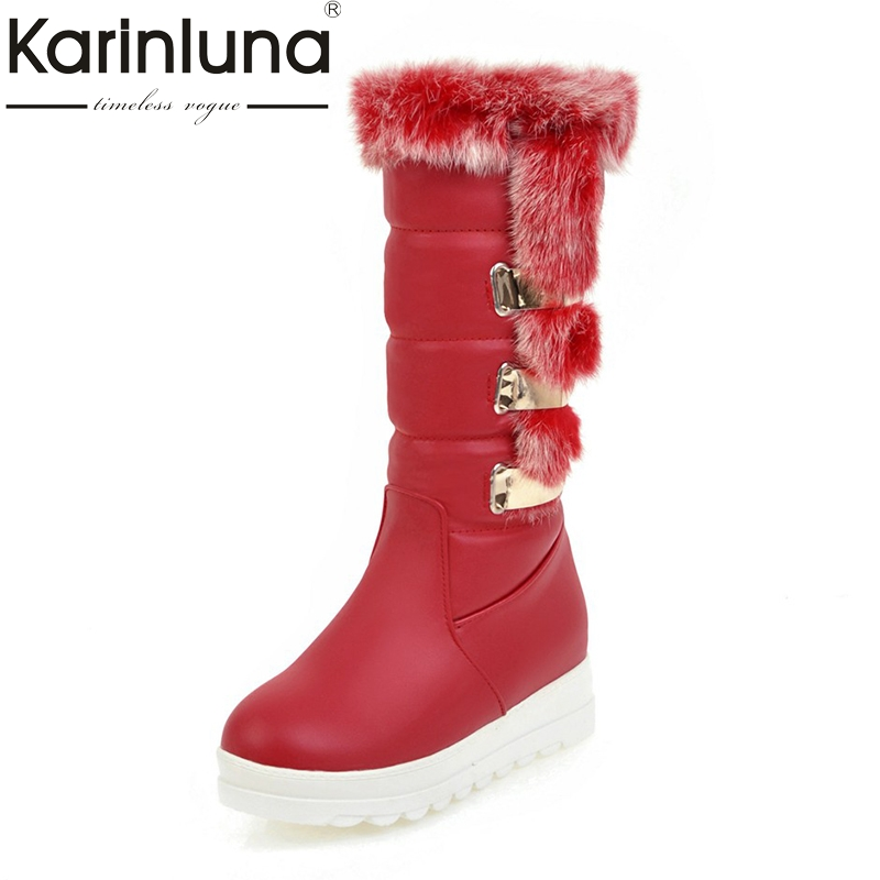 KarinLuna 2017 large sizes 34-43 thick bottom black shoes women fashion rabbit fur winter boots snow boots woman keep warm<br>
