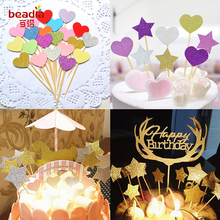 10pcs/Lot Heart/Cute Star Cake Topper Birthday Baby Shower Decorations boys girls kids Wedding Event Party favors Supplies