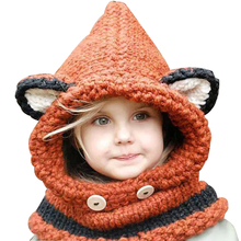 Cute Baby Knitted Hat Fashion New Children Thickening Fox Shawl Hats Casual Animal Connecting Cap For Boys&Girls
