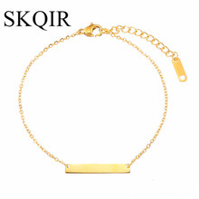 SKQIR Bar Bracelet Femme Custom Engraved Name Bracelet Gold Stainless Steel Jewelry Personalized Initial Bracelets For Women(China)