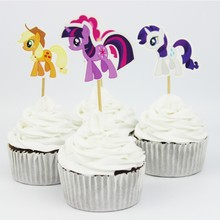 24pcs/lot 6 Designs My Little Pony Cupcake Topper Picks Cartoon Theme Birthday Party Decorations Kids Evnent Party Favors