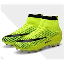 New Women's Youth Soccer Indoor Shoes TF Turf High Top Soccer Cleats Football Trainers Sports Sneakers Shoes EU Size 35--40