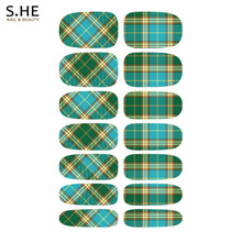 Stylish Green Striped Plaid Design Nail Stickers Resin Transfer Foils For Nails Water Decals Wraps Free Shipping