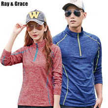 RAY GRACE Autumn Thin Fleece Long Sleeve Outdoor Shirt Warm Fast Drying Zipper Stand Collar Outdoor T Shirt Hiking Spring Tees
