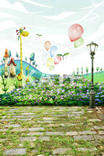 Photo Background Brick Floor Lights Animal Children Photography Backdrops Flower Bed Balloon Painting For Photo Studio