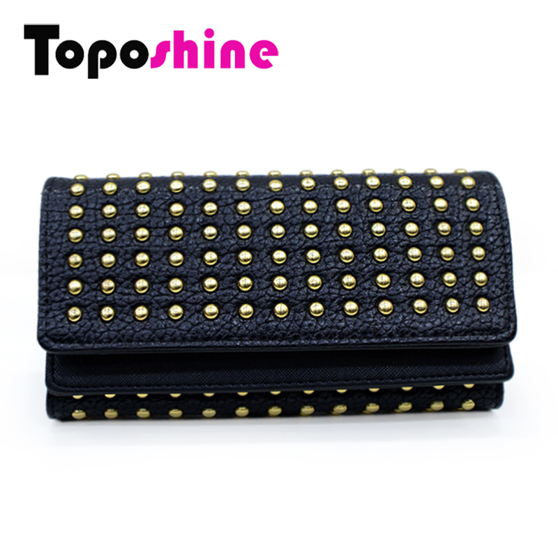 Toposhine 2017 New Fashion Women Wallets Rivet Synthetic Leather Wallet Womens Long Design Purse Two Fold 2 Color Clutch 2207<br><br>Aliexpress