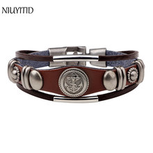 NIUYITID Men Bracelet Leather Fashion Anchor Bracelet Jewelry For Women Male Hand Bracelet Accessories