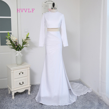 HVVLF 2017 Formal Celebrity Dresses Mermaid Two Pieces White Sexy Long Sleeves Backless Detachable Famous Red Carpet Dresses