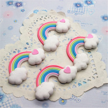 10pcs Kawaii Clay Flatback New Heart Cloud Rainbow Model Cabochon DIY Decorative Craft Scrapbooking Accessories,32*58mm(China)