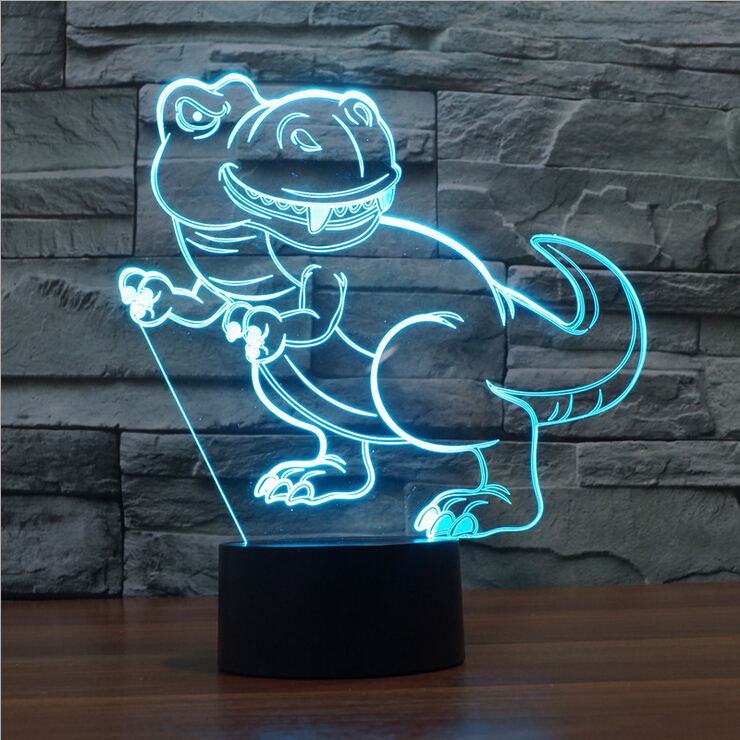 2017 New 7 Color Changing Dinosaur Shape 3D Acrylic night lighting Great Figure Toys for Kids Children gift for Friends holiday<br><br>Aliexpress