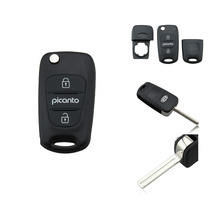 Replacement Flip Folding Remote Key Shell Case Fob 3 Button for KIA Picanto logo include
