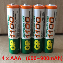 Free shipping!Hi-Power GP 4 x AAA /1.2V  GP (600-900)mAh Rechargeable NiHM Battery Charging times or1200 times