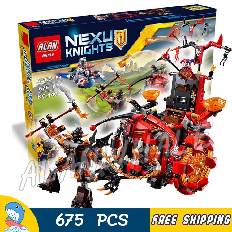 675pcs New Knights Jestros Evil Mobile Chariot The War Wagon 10489 Model Building Blocks Toys Nexus Bricks Compatible With Lego<br>
