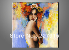 FREE SHIPPING handmade sexy nude girl & garland oil painting on canvas modern abstract nudes art picture decorative for bedroom