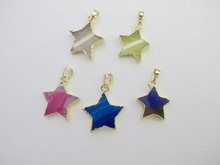 Wholesale Mixed 10pcs/lot Natural Agat e Gem stone Stars Pendant fit Necklace Jewelry DIY