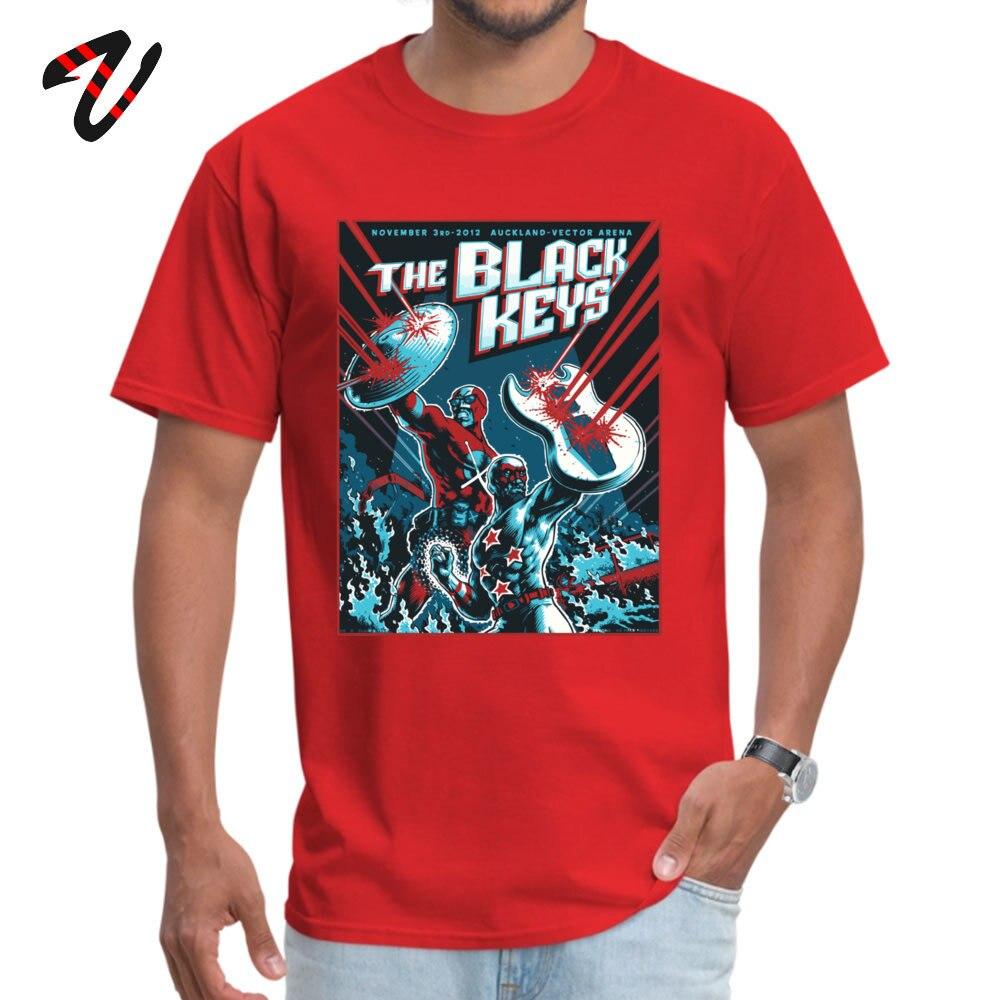 The Black Keys 100% Cotton Normal T Shirt Special Short Sleeve Men T-Shirt Simple Style Summer/Autumn Sweatshirts Crewneck The Black Keys14890 red