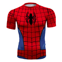 New Fitness Compression Shirt Mens Spider man / Superman Bodybuilding Short Sleeve 3D Print T Shirt Crossfit Tops Fashion Shirts(China)