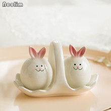 NOOLIM 3Pcs/set Creative Handmade Crafts Ceramic Rabbit Seasoning Tank Rabbit Spice Seasoning Storage Bottle Kitchen Products(China)