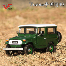 New 1:24 Toyota FJ40 SUV JEEP Alloy Car Model Original Box diecast metal ArmyGreen Assembled model Car Kids Toy Gifts Collection