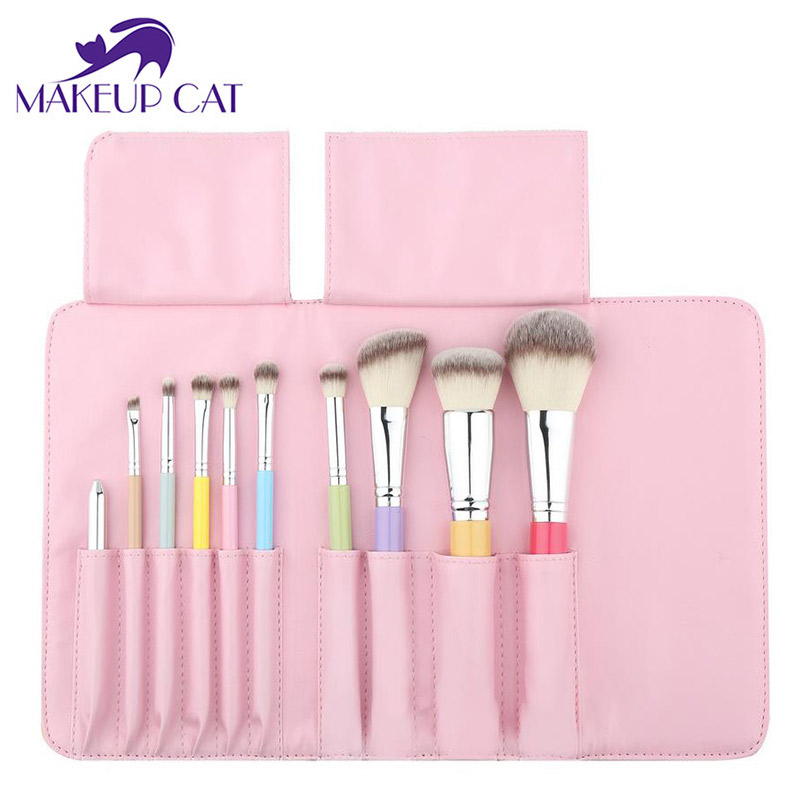 Makeup Cat 10 Pcs/Set Makeup Rainbow Brushes Synthetic Hair Beauty Brand Wood Handle Professional Make Up Brush Set<br>