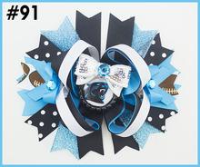 "free shipping 120pcs 6""team hair bows with sequin football hair clips Layered Bottle Cap Hair Bow girl sport bows hair bows"