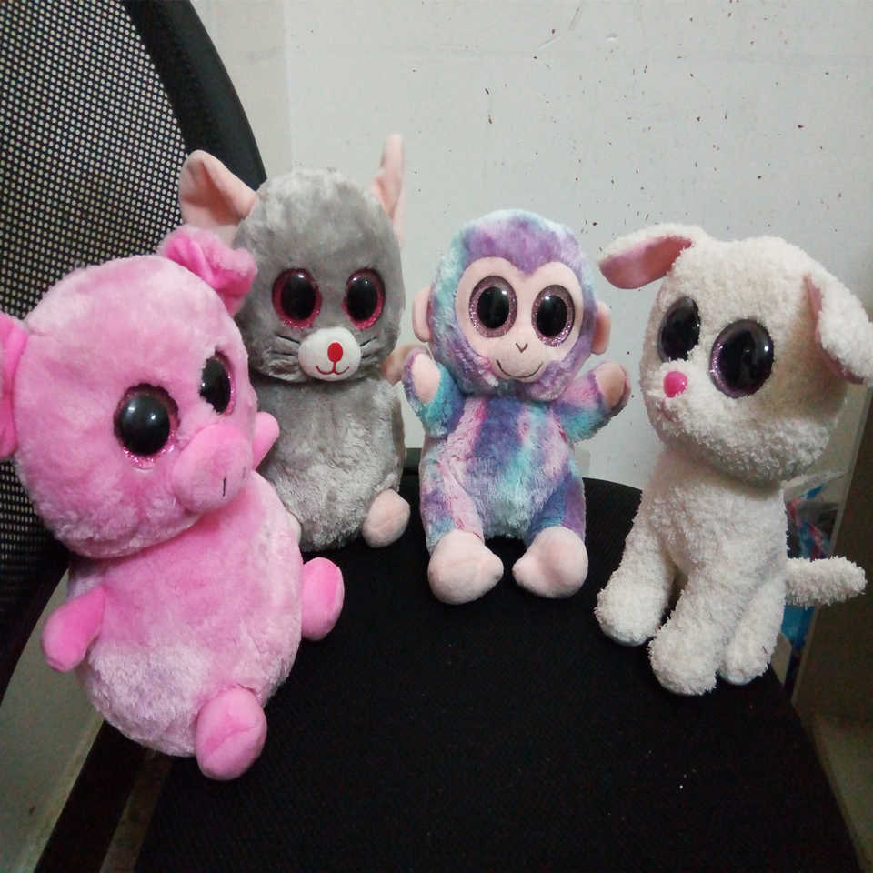 TY Beanie Boos Animals doll 25cm big eyes Pink pig Purple monkey Gray  mouse White dog Advanced custom toy b0a7e8a9776