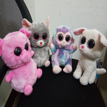 TY Beanie Boos Animals doll 25cm big eyes Pink pig&Purple monkey&Gray mouse&White dog Advanced custom toy doll Plush animal to(China)