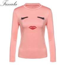 Fanala Lip Eyelash Print T Shirt Women Long Sleeve Big Lips T-shirt Spring TShirt Top Outerwear Clothes Shirts Ladies Top Tees(China)
