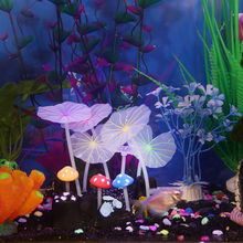 1pcs Aquariums Accessories Artificial Coral Reef Glowing Lotus Leaf Mushroom luminous Stones Fish Tank Decoration with Sucker(China)