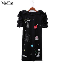 Women cute letters carton print ruffles dress basic short sleeve o neck ladies summer brand casual dresses vestidos DT962